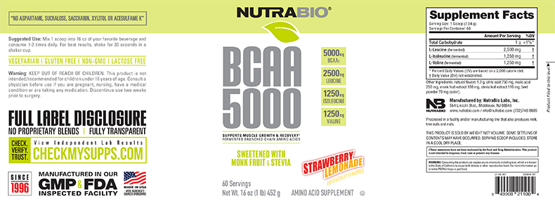 Label Image for NutraBio BCAA Natural Powder