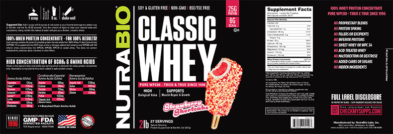 Label Image for NutraBio Classic Whey Protein (WPC80) - 2 lb