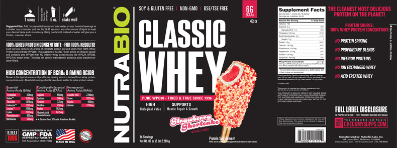 Label Image for NutraBio Classic Whey Protein (WPC80) - 5 lb
