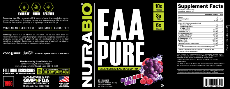Label Image for NutraBio EAA PURE - 30 Servings