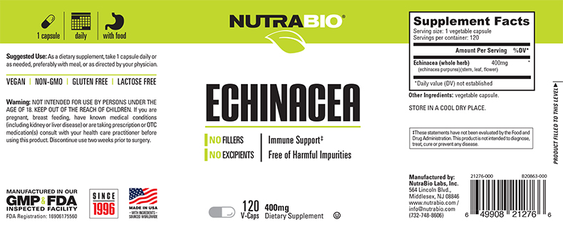 Label Image for NutraBio Echinacea (400 mg) - 120 Vegetable Capsules
