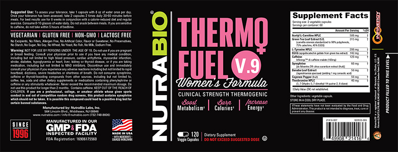 Label Image for NutraBio ThermoFuel V9 for Women - 120 Vegetable Capsules