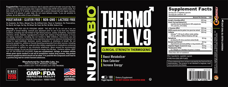 Label Image for NutraBio ThermoFuel V9 for Men - 180 Vegetable Capsules