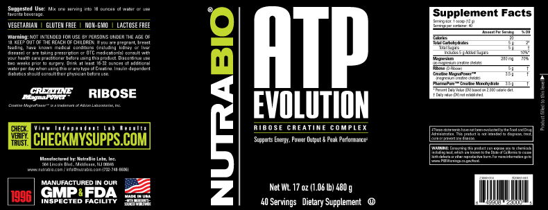 Label Image for NutraBio ATP Evolution - 500 Grams