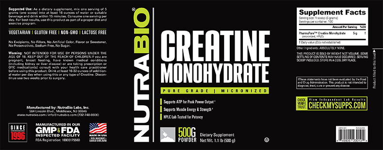 Label Image for NutraBio Creatine Monohydrate Powder - 500 Grams