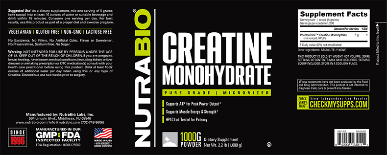 Label Image for NutraBio Creatine Monohydrate Powder - 1000 Grams