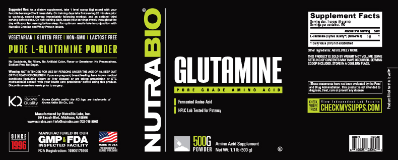 Label Image for NutraBio Glutamine - 500 Grams