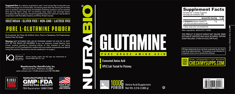 Label Image for NutraBio Glutamine - 1000 Grams