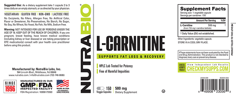Label Image for NutraBio L-Carnitine (500mg) - 150 Vegetable Capsules