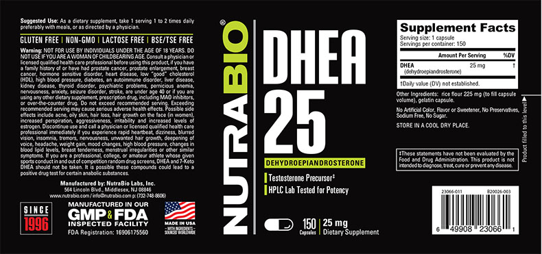 Label Image for NutraBio DHEA (25mg) - 150 Capsules