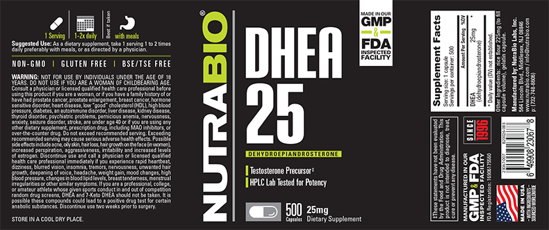 Label Image for NutraBio DHEA (25mg) - 500 Capsules
