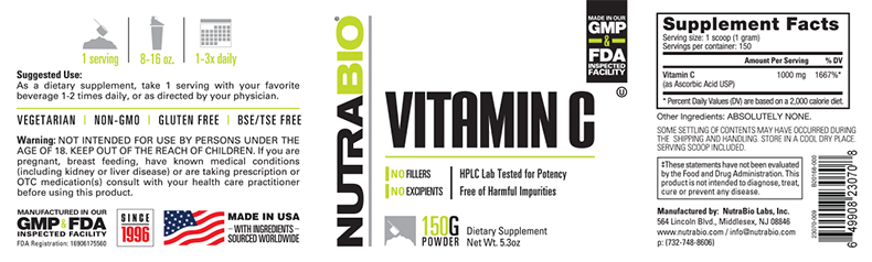 Label Image for Vitamin C Powder - 150 Grams