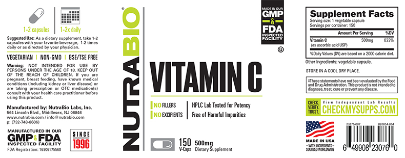 Label Image for NutraBio Vitamin C (500mg) - 150 Vegetable Capsules
