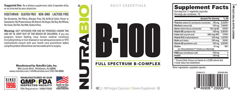 Label Image for NutraBio Vitamin B-100 Complex - 150 Vegetable Capsules