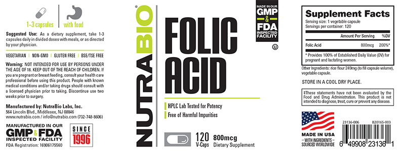 Label Image for NutraBio Folic Acid (800 mcg) - 120 Vegetable Capsules
