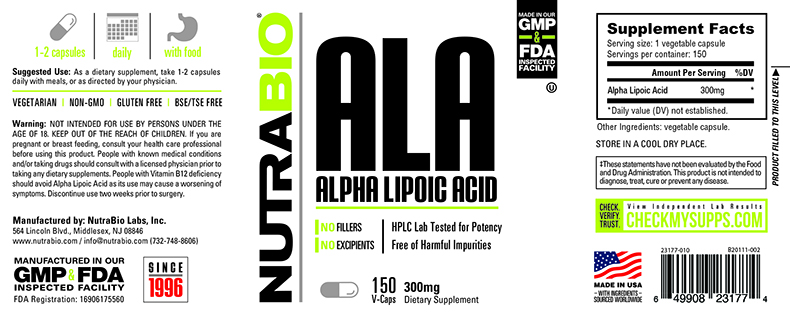 Label Image for NutraBio Alpha Lipoic Acid 300mg - 150 Vegetable Capsules
