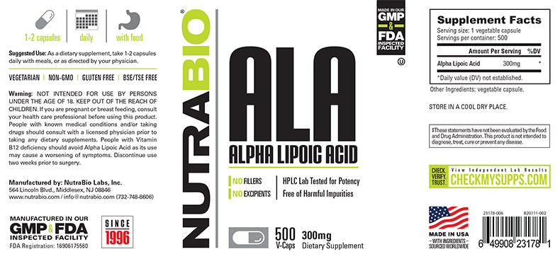Label Image for Alpha Lipoic Acid 300mg - 500 V-Capsules