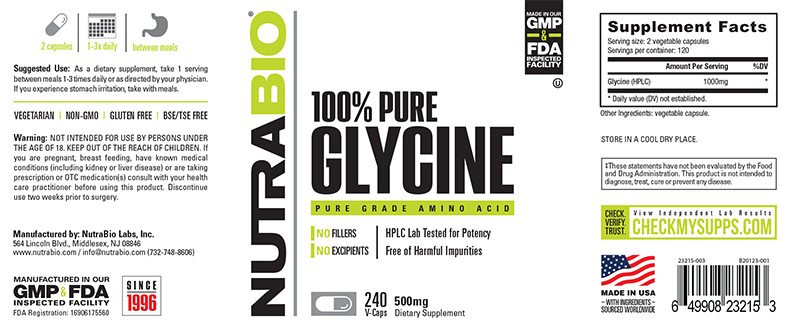 Label Image for NutraBio Glycine 500 mg - 240 Vegetable Capsules