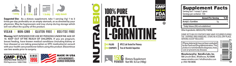Label Image for NutraBio Acetyl L-Carnitine - 150 Grams