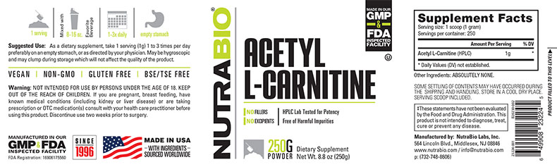 Label Image for NutraBio Acetyl L-Carnitine - 250 Grams