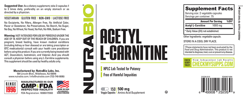 Label Image for NutraBio Acetyl L-Carnitine (500mg) - 150 Vegetable Capsules
