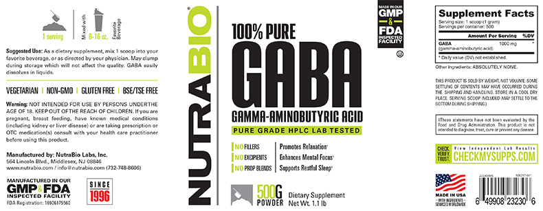 Label Image for NutraBio GABA Powder - 500 Grams