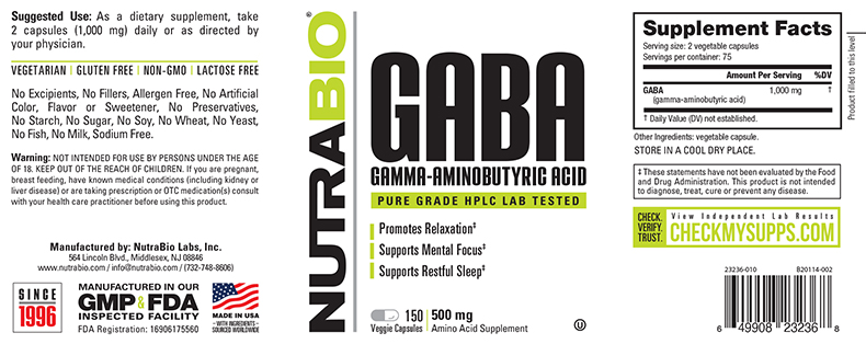 Label Image for NutraBio GABA (500mg) - 150 Vegetable Capsules