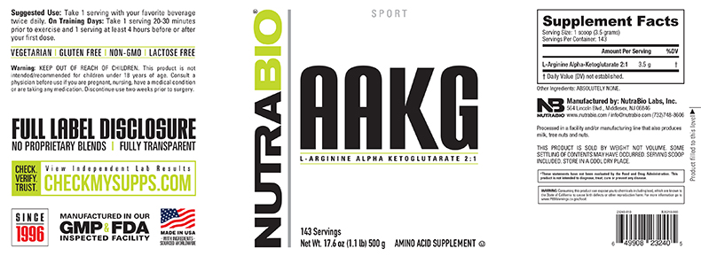 Label Image for NutraBio Arginine AKG Powder - 500 Grams