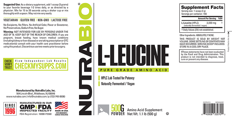 Label Image for NutraBio Leucine Powder - 500 Grams