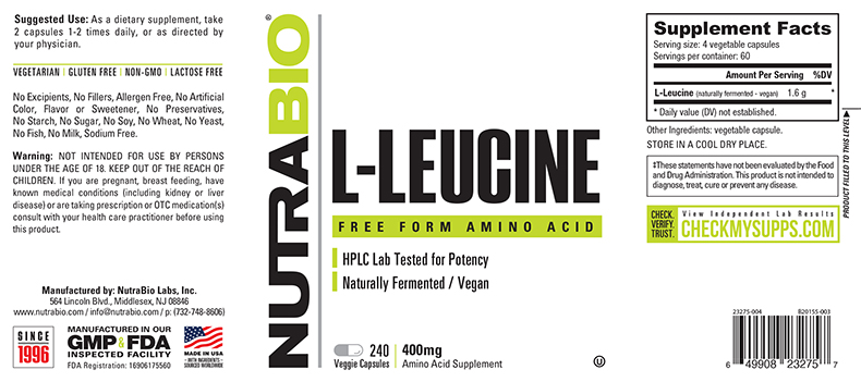 Label Image for NutraBio Leucine 400mg - 240 Vegetable Capsules
