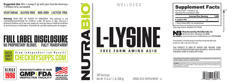 Label Image for NutraBio Lysine Powder - 500 Grams