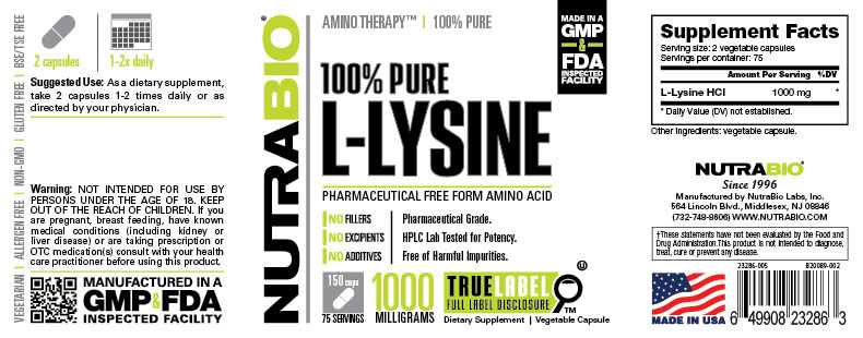Label Image for Lysine (500mg) - 150 Vegetable Capsules