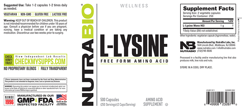 Label Image for NutraBio Lysine (500mg) - 500 Vegetable Capsules