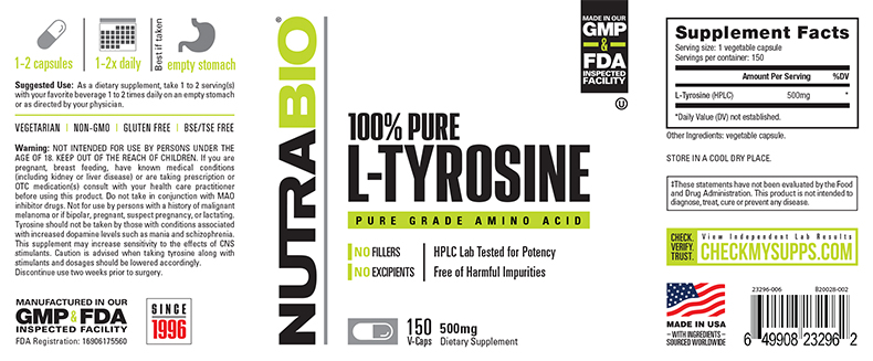 Label Image for NutraBio Tyrosine (500mg) - 150 Vegetable Capsules