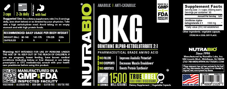 Label Image for NutraBio OKG - 270 Vegetable Capsules