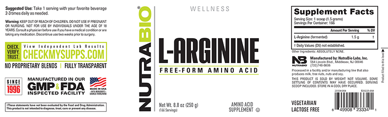 Label Image for NutraBio Arginine Powder - 250 Grams