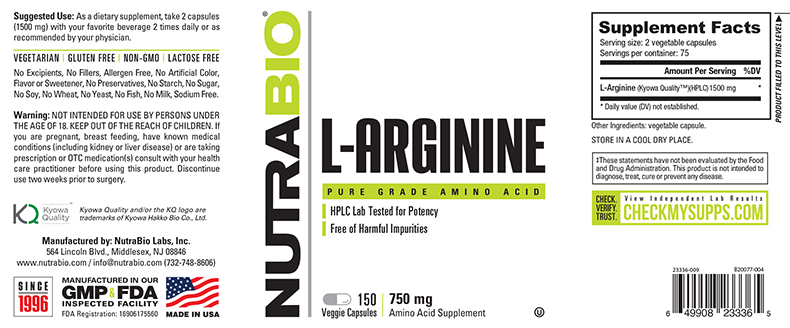 Label Image for NutraBio Arginine (750mg) - 150 Vegetable Capsules