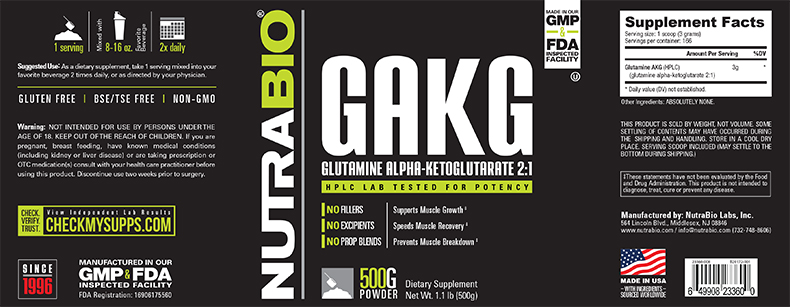 Label Image for NutraBio Glutamine AKG 2:1 Powder - 500 Grams