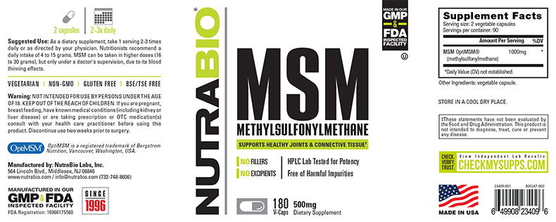 Label Image for NutraBio MSM (OptiMSM 1000mg) - 180 Vegetable Capsules