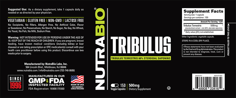 Label Image for Tribulus Terrestris - 150 Vegetable Capsules