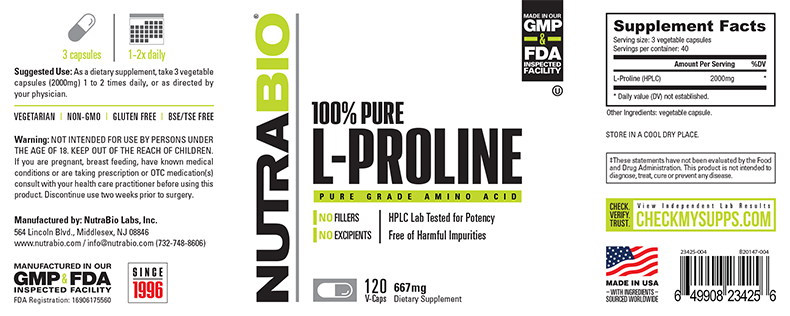 Label Image for NutraBio Proline (667mg) - 120 Vegetable Capsules