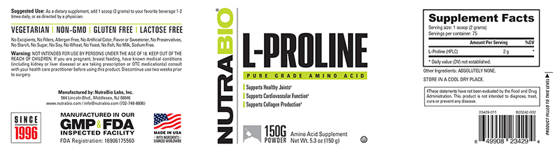 Label Image for NutraBio Proline Powder - 150 Grams