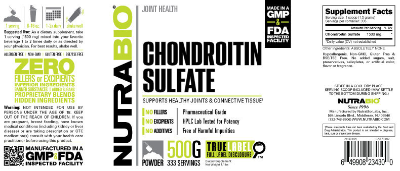 Label Image for Chondroitin Sulfate Powder - 500 Grams