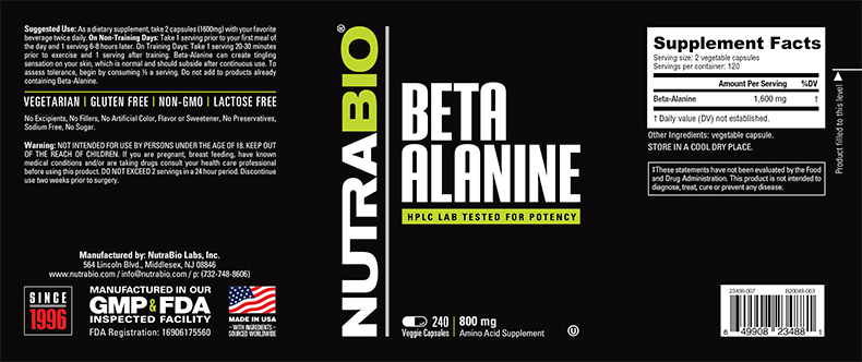 Label Image for NutraBio Beta Alanine (CarnoSyn) (800mg) - 240 Vegetable Capsules