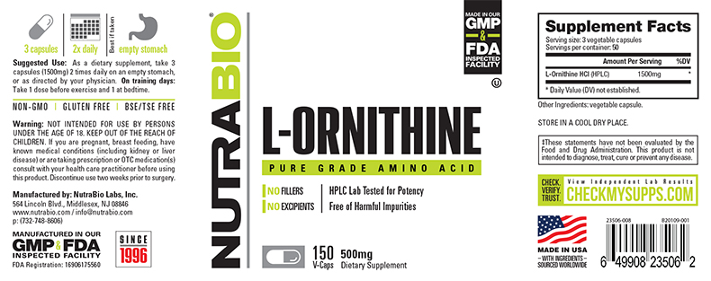 Label Image for NutraBio Ornithine 500MG - 150 Vegetable Capsules