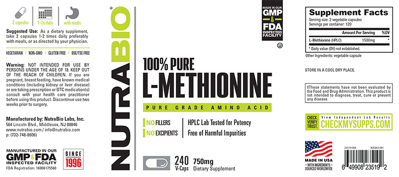 Label Image for NutraBio Methionine (750mg) - 240 Vegetable Capsules
