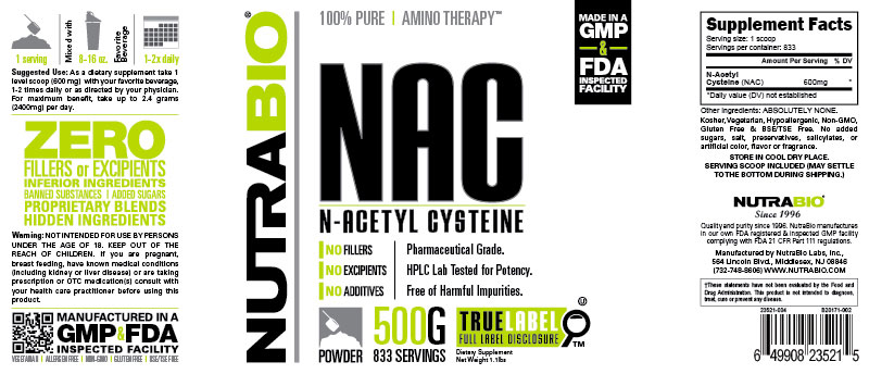 Label Image for N-Acetyl-Cysteine Powder (NAC) - 500 Grams