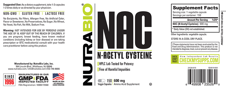 Label Image for NutraBio N-Acetyl-Cysteine (NAC) (600 mg) - 150 Vegetable Capsules