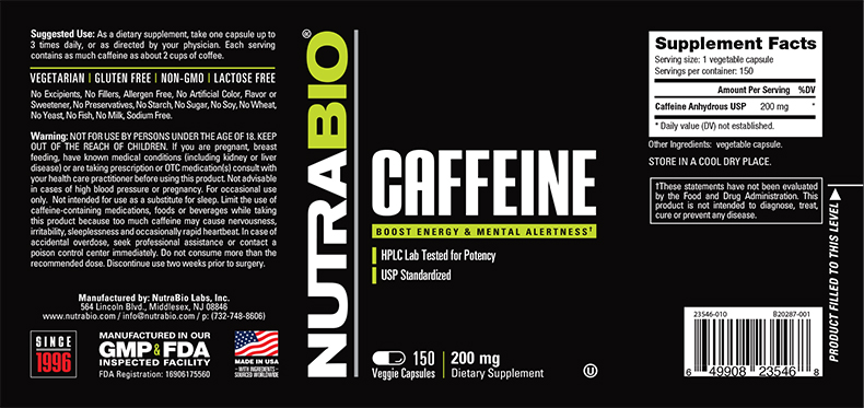 Label Image for NutraBio Caffeine (200mg) - 150 Vegetable Capsules