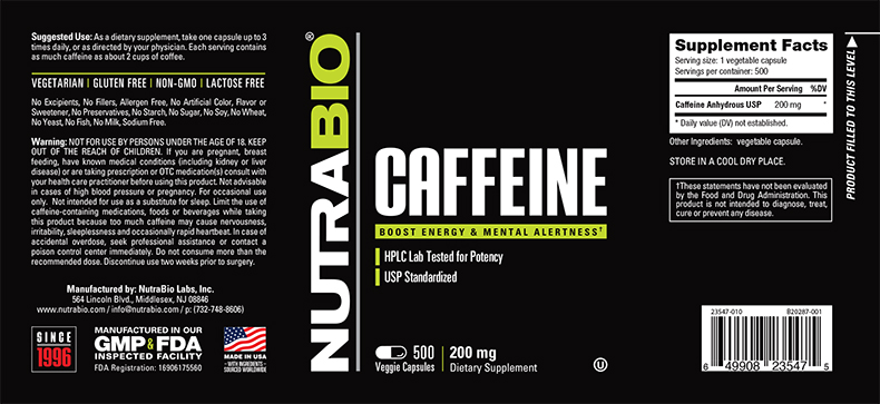 Label Image for NutraBio Caffeine (200mg) - 500 Vegetable Capsules